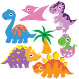 Dinosaur  Cartoon Illustration Wall Sticker