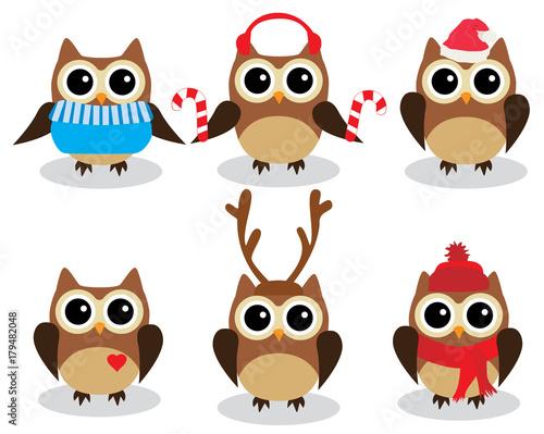 Deurstickers Uilen cartoon Vector Fun Owls