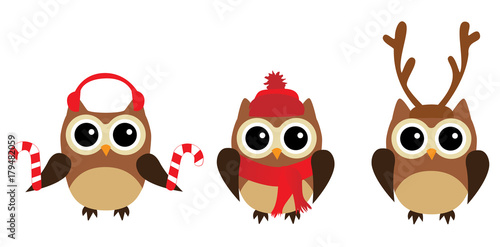 Fotobehang Uilen cartoon Vector Fun Owls