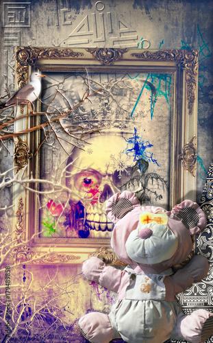 Staande foto Imagination Scena macabra e surreale con orsetto,teschio e trionfo della morte