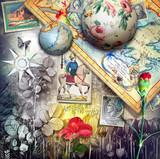 Paesaggio fantastico esurreale con vecchie mappe,francobolli e carte da gioco