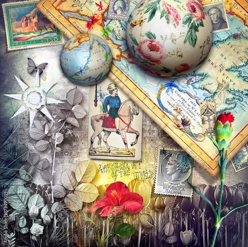Foto op Canvas Imagination Paesaggio fantastico esurreale con vecchie mappe,francobolli e carte da gioco