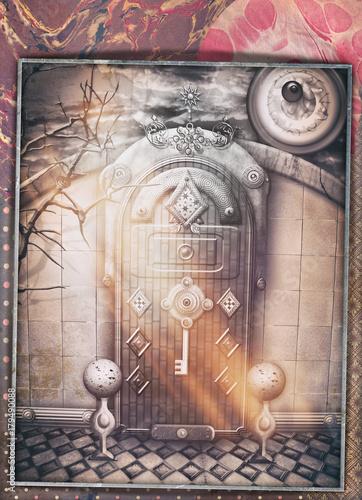 Papiers peints Imagination Porta gotica e misteriosa con chiavistello su sfondo collage e patchworks