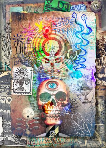 Papiers peints Imagination Scena macabra,dark e bizzarra con teschio trionfante e incoronato
