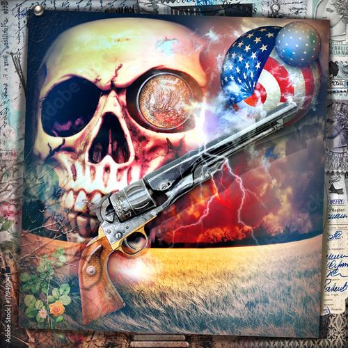 Papiers peints Imagination Scena macabra,dark e bizzarra con teschio e pistola in un cielo notturno e tempestoso