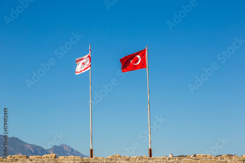 In de dag Cyprus Flags of Turkey and North Cyprus