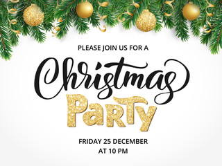 Christmas party poster. Hand written lettering, sparkling typography. Fir tree garland, border with hanging balls and ribbons.