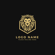 King Lion Head Logo Template, Strong Glare Lion Face. Golden Elegant Design Badge, Sticker, Icon, Emblem, Brand Identity with Hexagonal Shield Frame