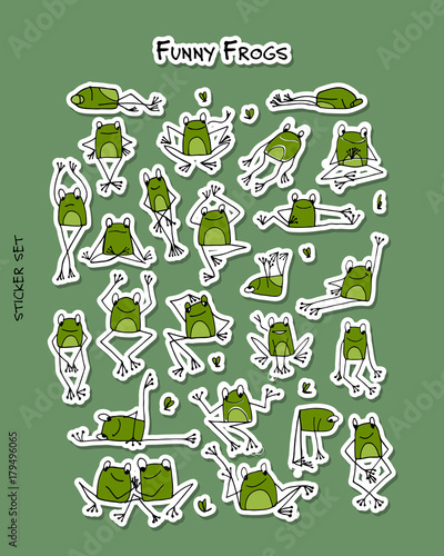 Poster Funny frogs, sticker set for your design