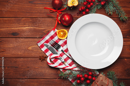 Christmas table place setting - 179499678