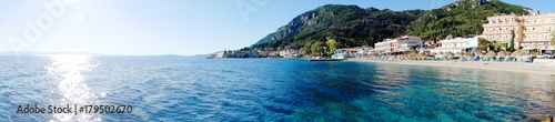 panorama blue lagoon coast landscape ionian sea on Corfu island - 179502670