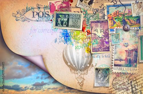 Staande foto Imagination Cartolina vintage di posta aerea con vecchi francobolli,cielo e mongolfiera