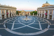 Rome, Italy - The Piazza del Campidoglio square, headquarters of the mayor of Rome, at the dawn.