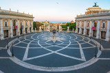 Rome, Italy - The Piazza del Campidoglio square, headquarters of the mayor of Rome, at the dawn.  - 179505631