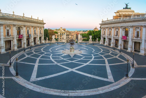 Foto op Canvas Rome Rome, Italy - The Piazza del Campidoglio square, headquarters of the mayor of Rome, at the dawn.
