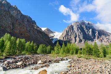 View on Aktru river, Karatash peak and Aktru glacier. Altai Republic. Russia