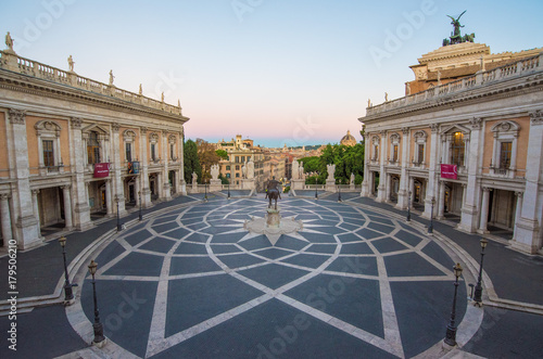 Staande foto Rome Rome, Italy - The Piazza del Campidoglio square, headquarters of the mayor of Rome, at the dawn