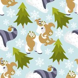 Seamless pattern with Christmas pony and festive elements. Vector illustration.