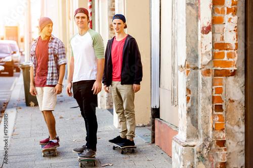 Fotobehang Skateboard Skateboarding at the street