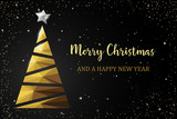 Christmas tree golden polygon card - 179517018