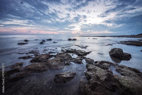 Foto op Canvas Zee zonsondergang Sunset landscape and long exposure