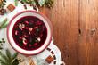 Traditional, Polish Christmas red borsch with dumplings. - 179525420