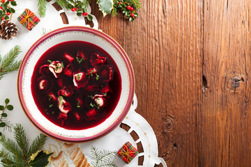 Traditional, Polish Christmas red borsch with dumplings.
