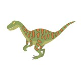 Deinonychus Dinosaur Color Dino Design Illustration Wall Sticker