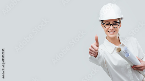 Cheerful female architect