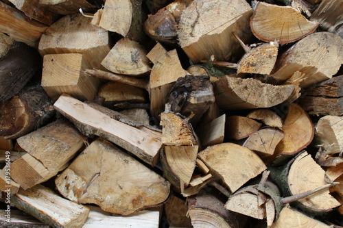 Papiers peints Texture de bois de chauffage Ein Haufen gespaltenes Brennholz