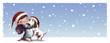 niña con perro en navidad nevando