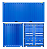 Blue Cargo Freight Container From Different Sides Wall Sticker