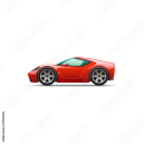 Fotobehang Auto Pixel red cartoon sport car. Side view