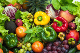 Tropical fresh fruits and vegetables organic after washed, Arrangement different vegetables organic for eating healthy and dieting