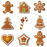 Gingerbread Cookies Icon Set - 179541892