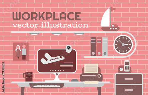 Foto op Canvas Abstractie Art Workplace vector illustration