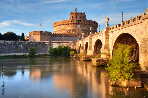 Saint Angelo Castle and bridge over the Tiber river in Rome Poster