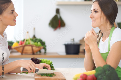 Fridge magnet Two women friends cooking in kitchen while having a pleasure talk. Friendship and Chef Cook concept