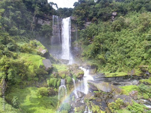 Papiers peints Lavende Beautiful waterfall.Tad Khamued Waterfall in southern Laos.It is a place to visit the natural beauty.Mountain forest fall landscape.Top view,Aerial view,waterfall amazing nature background,Rainforest