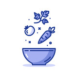 Salad recipe, fresh vegetables, healthy eating, vector icon - 179559020