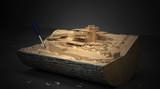 Ceppo di legno con modello architettonico, BIM - 179564070
