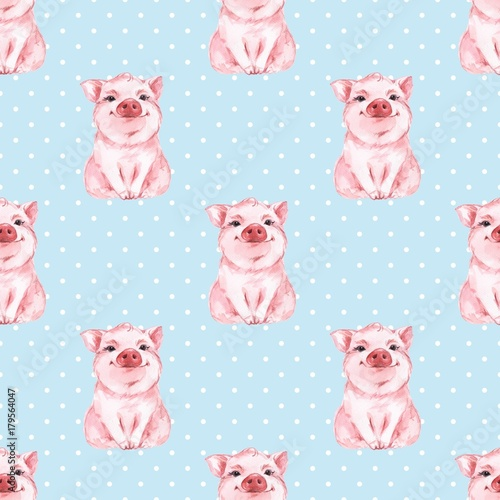 Cotton fabric Seamless pattern with pig. Blue background. Polka dot