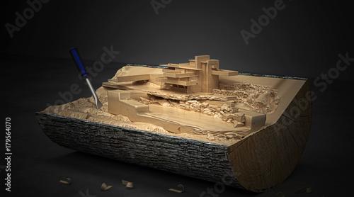 Poster Ceppo di legno con modello architettonico, BIM