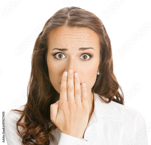 Plakát Business woman covering mouth, isolated
