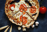 Savory Pie, Quiche with chicken, mushrooms, corn , sauce bechamel and Scamorza cheese - 179571829