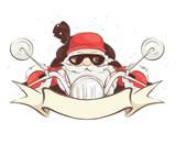Santa biker / Vector illustration, card - Santa Claus on chopper