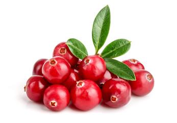 Cranberry with leaf isolated on white background closeup macro © kolesnikovserg