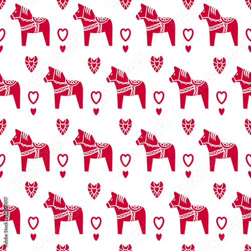 Seamless vector pattern with Dala horses. - 179581017