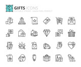 Outline icons about gift - 179581870