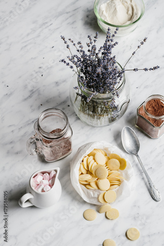 Foto op Canvas Chocolade Making hot chocolate with lavender and marshmallows. Marble background
